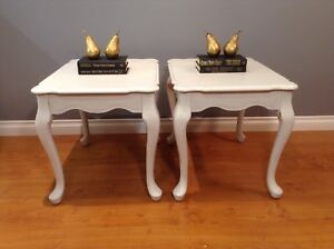 2 White Queen Anne Side Tables