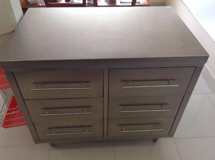 Stainless Steel 6 Drawer Freestanding Cabinet