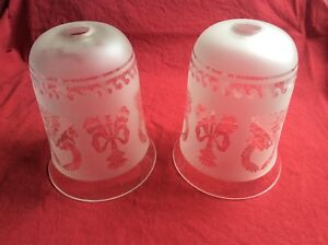 Etched glass ceiling light shades x 2