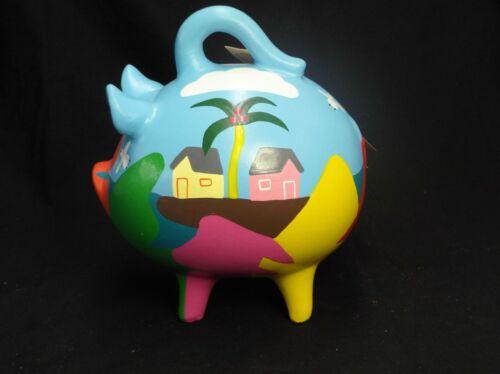 HAND PAINTED CERAMIC PIGGY PIG COIN BANK BY MAYABELLA YUCATAN MEXICO VILLAGE TAG