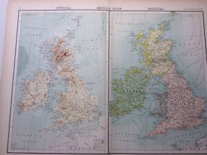 Antique Map of the British Isles (1898)