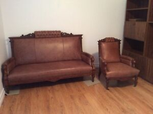 2 Piece Antique Stressed Leather Sofa and Chair