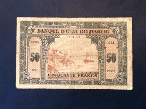 ~1944 WWII Banque D'Etat FRENCH MOROCCO 50 francs NOTE P-26