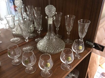 Vintage crystal ships decanter set Ottoway Port Adelaide Area Preview
