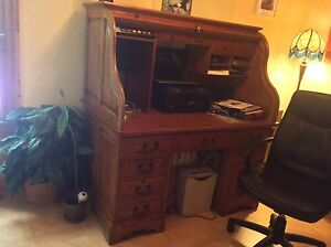 Antique Solid Oak roll top desk