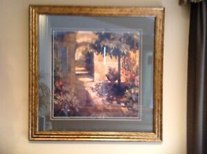TUSCAN DOORWAY MATTED WITH WOOD FRAME, IN EUC