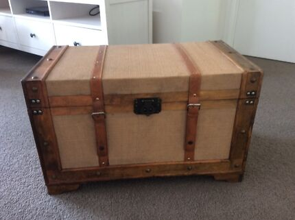 Rustic wooden treasure chest, vintage steamer trunk, sea trunk