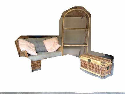 Couch, bookcase and chest - cane furniture