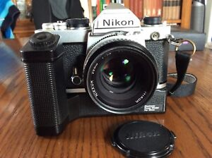 Nikon FM with Nikon 50mm 1.8 lens and power Winder