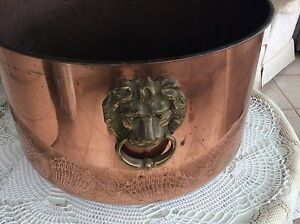 Burnished Copper Planter with Brass Lion head Handles Normanville Yankalilla Area Preview