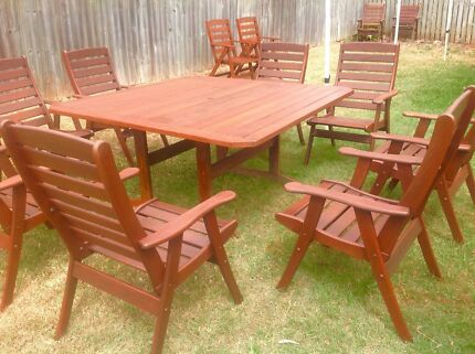 Outdoor dining setting timber chairs wooden table 8 chairs