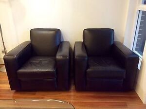 Black leather Moran armchairs Erskineville Inner Sydney Preview
