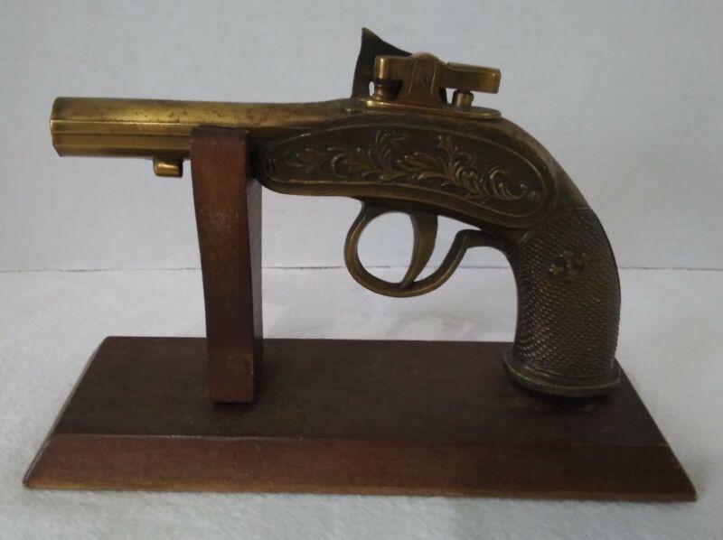 Antique Brass Flintlock Pistol Gun Lighter Table Lighter w/ Display Stand Japan