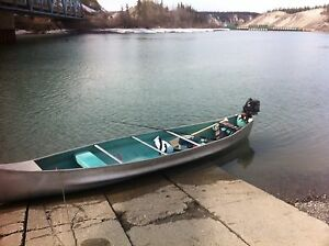Freighter canoe without motor, aluminum