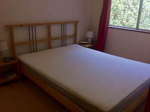 Queen Bed Wooden Slat Base with Cool Medium Firm Sprung Mattress Brooklyn Hornsby Area Preview