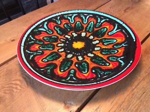 """Mid Century Poole Pottery England 14"""" Delphis Charger Plate Bowl"""