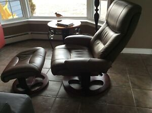 Leather Swivel recliner with ottoman