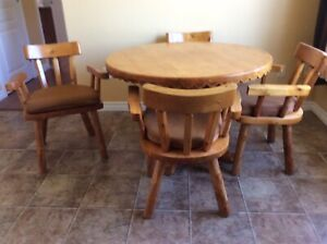 Solid cedar table and chairs