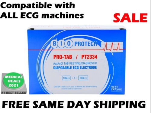 BIO PROTECH, PRO-TAB PT2334 RESTING DISPOSABLE ECG ELECTRODE  (100 PER BOX)