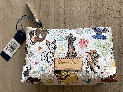 NEW Dooney & Bourke Disney Parks Sketch Dogs Cosmetic Case Stitch Bolt Dante