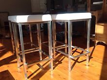 White faux leather and stainless steel bar stools as new Lane Cove Lane Cove Area Preview
