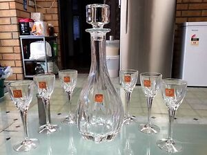 RCR, Crystal decanter & 6 wine / sherry glasses, made in ITALY Ottoway Port Adelaide Area Preview