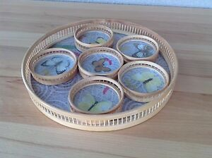 Vintage Bamboo Serving Tray and Coasters