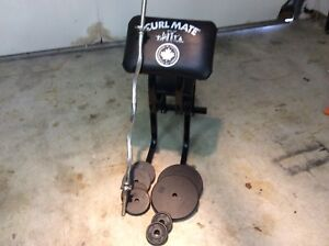 Preacher curl bench  with bar and 80 pounds of plates