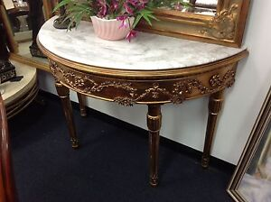 Marble top hall table, 1/2 round, gold ornate timber legs Ashmore Gold Coast City Preview