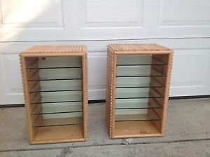 shelving units with glass shelves