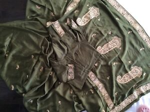 Satin Saree mehndi green.