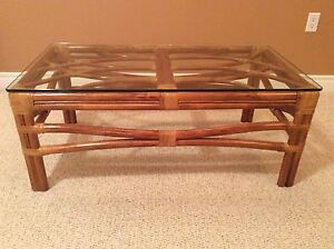 Rattan/Glass Coffee Table