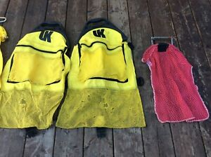 Scuba diving bags and flag