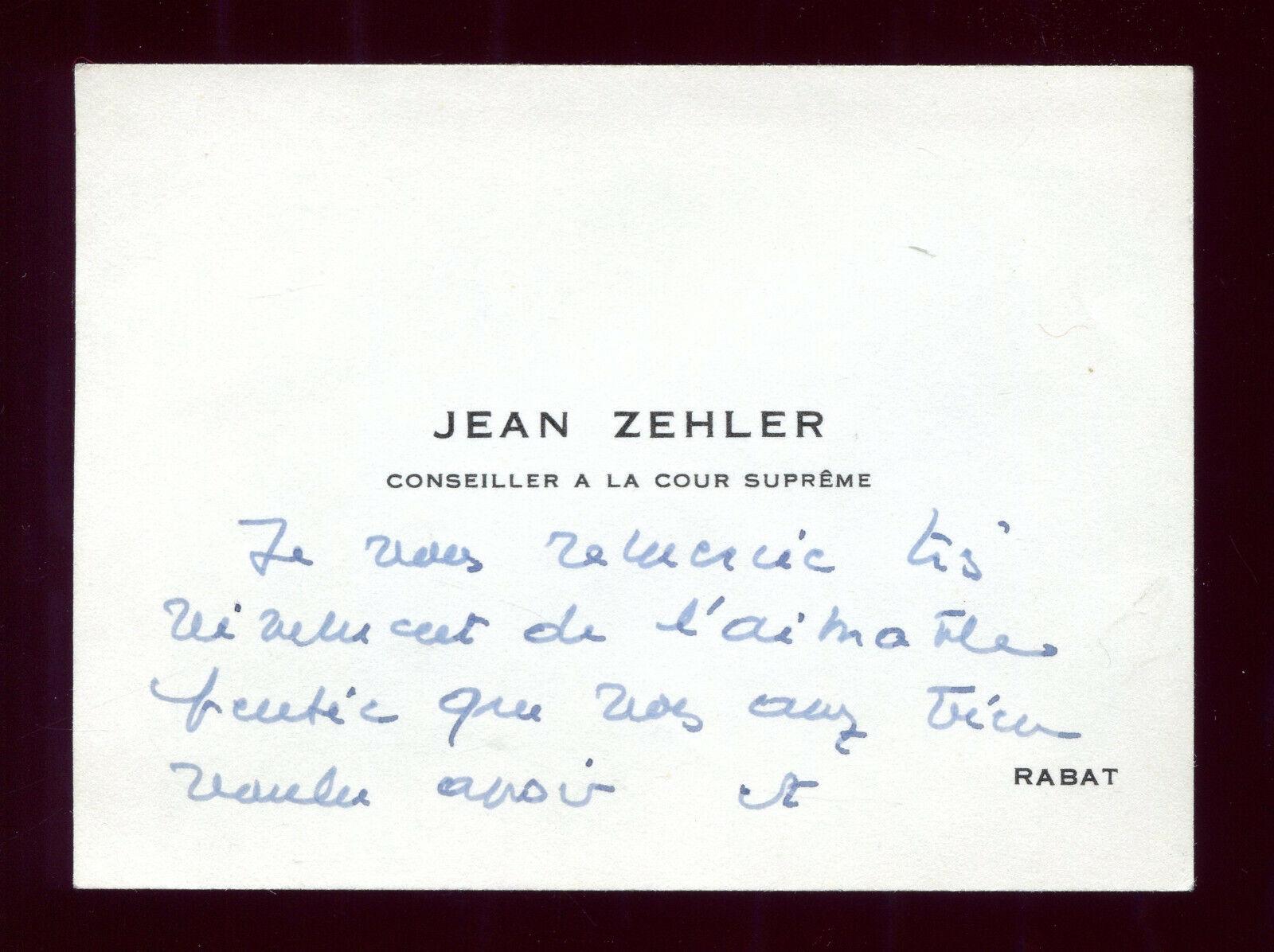Carte de visite de mr. jean zehler anc. conseiller à la cour suprême rabat maroc