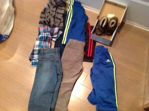 Variety of gently used boys clothes, brand new shoes