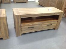 Sandblast Brushed Acacia Hardwood Tv Unit - FACTORY CLEARANCE Dandenong South Greater Dandenong Preview