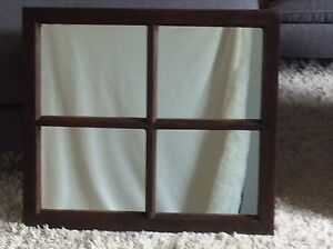 Antique barn window mirror