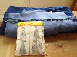 Patron et tissu pour robe longue