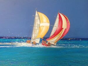 Peter Hales original oil canvas painting 'Fighting Colours' Bli Bli Maroochydore Area Preview
