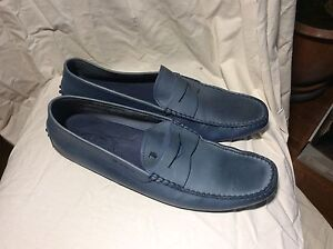 Tods Italian blue leather driving moccasins size 12