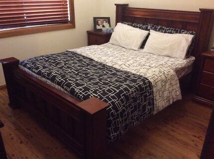 Queen Bed with Bedside and Dressing Table Woodpark Parramatta Area Preview