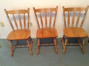 3 Solid Wood Dining Room Chairs