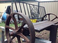 Outdoor Garden Bench seat / chair with steel wagon wheels Birkdale Redland Area Preview