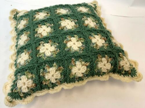"Vintage 14"" Square Handmade Cream Green Flower Floral Crochet Knit Throw Pillow"