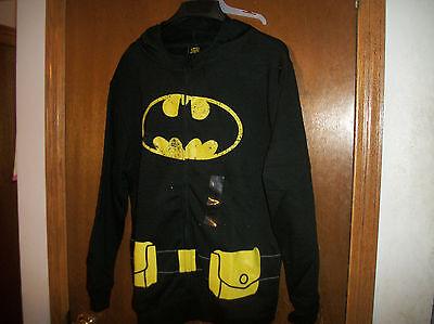 Batman Hoodie Mask (DC Batman Utility Belt  Zipper Mask Cowel  Hoodie hooded  NWT Large )