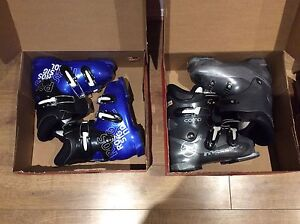 Two pairs of boots and a pair of 93 cm skiis