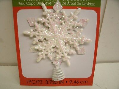 "Iridescent Glitter Snowflake Tree Topper for Small Tree  3.75"" tall"