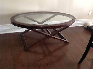 Perfect Condition Oval Solid Wood Coffee Table with Glass top