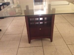 Top glass dining table,with solid wood storage,66 by 44 inches