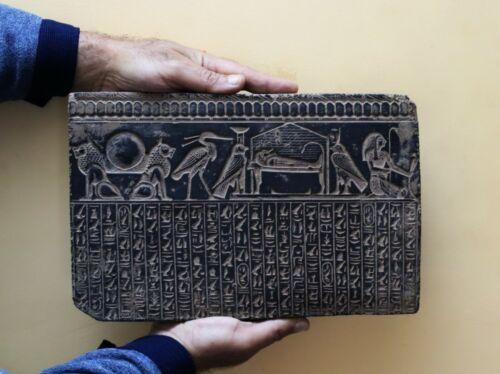 RARE EGYPTIAN EGYPT ANTIQUES Gods HIEROGLYPHIC Wall STELA RELIEF STONE BC